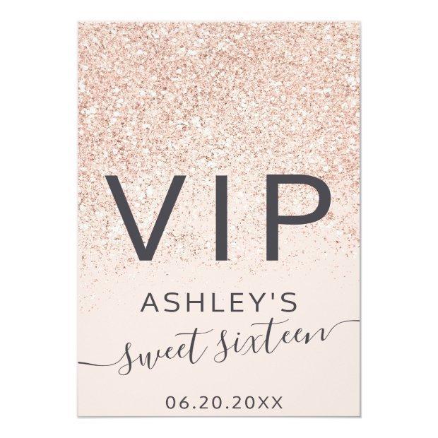 Rose Gold Glitter Typography Blush Sweet 16 Vip Badge