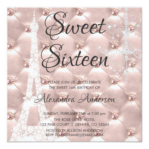 Rose Gold Paris Sweet Sixteen Birthday Party Invitations