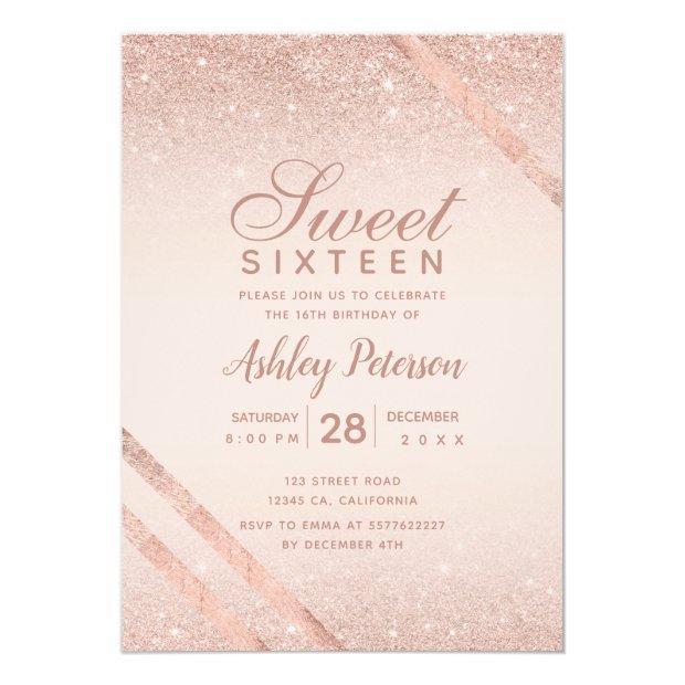 Rose Gold Typography Stripe Glitter Blush Sweet 16 Invitation