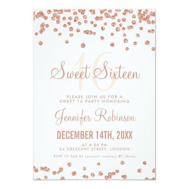 Rose Gold White Sweet 16 Birthday Glitter Confetti Invitations