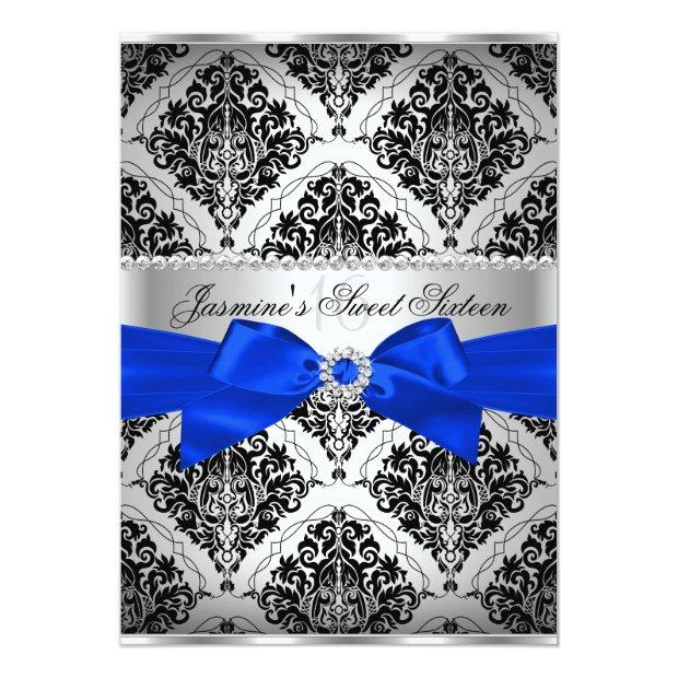 Royal Blue & Black Damask Sweet 16 Invitations