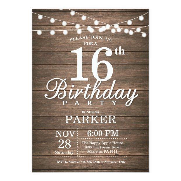 Rustic 16th Birthday Invitation String Lights Wood