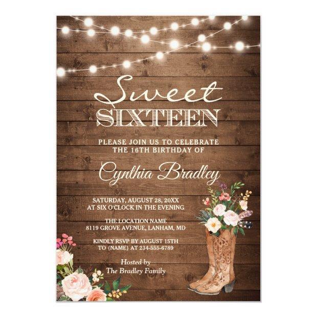 Rustic Boots Cowgirl Sweet Sixteen 16 Invitation
