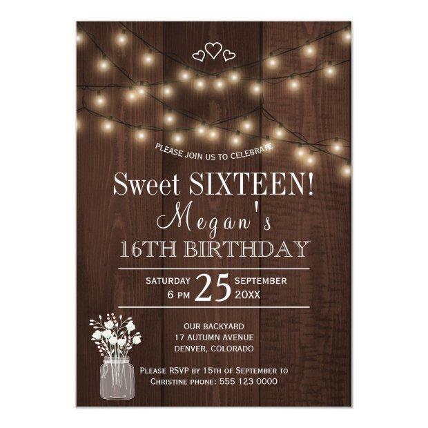 Rustic Country Lights Barn Wood Sweet Sixteen