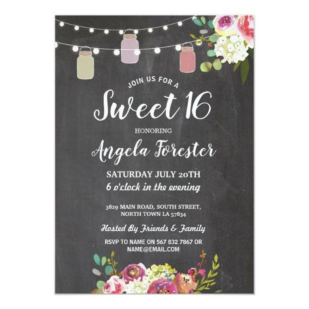Rustic Jars Sweet 16 Party Chalk Floral Lights