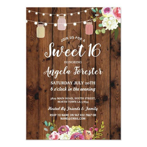 Rustic Jars Sweet 16 Party Wood Floral Lights Invitation