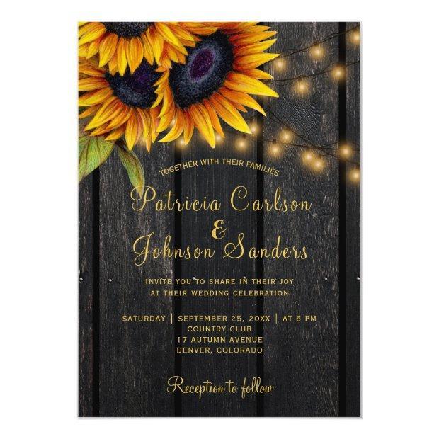 Rustic Lights Sunflower Barn Wood Wedding Invitations