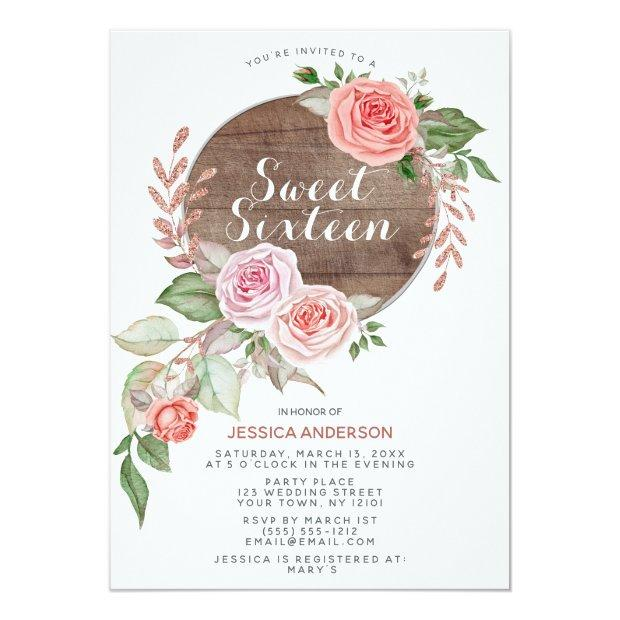 Rustic Rose Gold Pink Glitter Sweet Sixteen Invitation