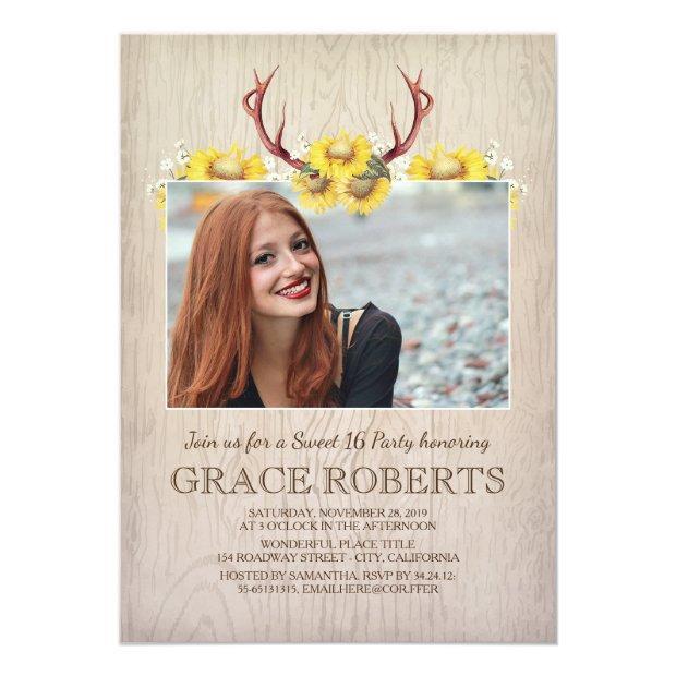 Rustic Sunflower Antlers | Sweet Sixteen Birthday