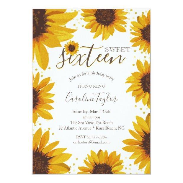 Rustic Sunflower Sweet 16 Birthday Invitation