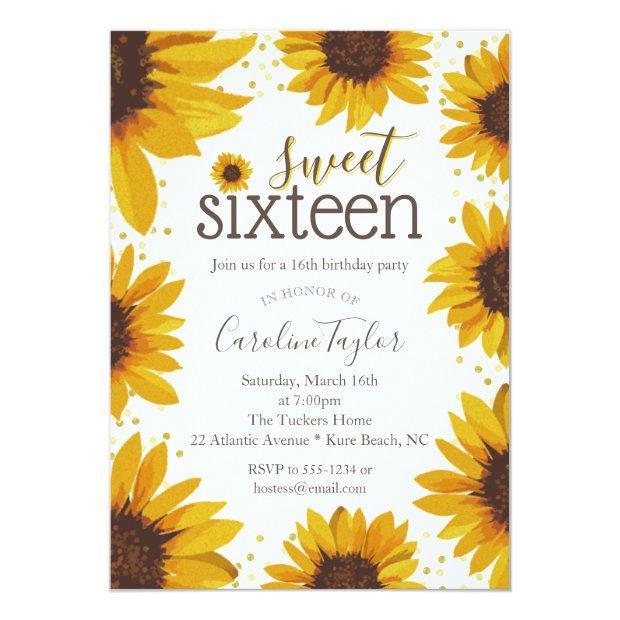 Rustic Sweet 16 Birthday Sunflowers Invitation