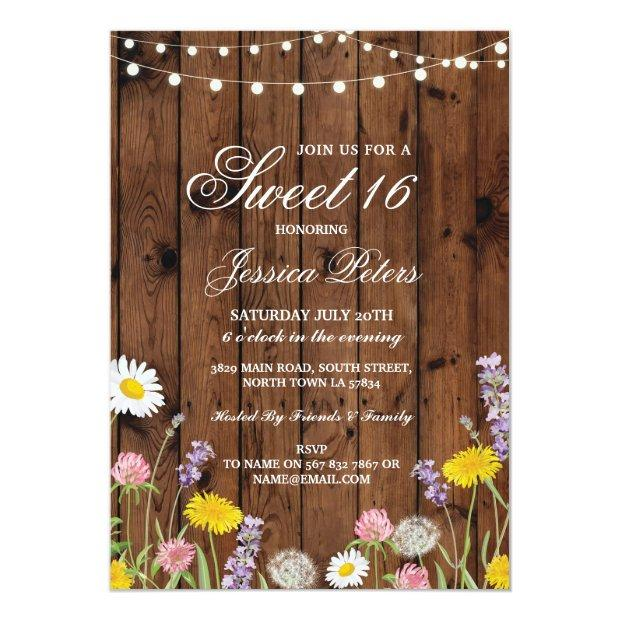 Rustic Sweet 16 Party Floral Wild Flowers Invite
