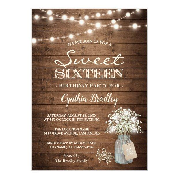 Rustic Sweet Sixteen Baby's Breath String Lights