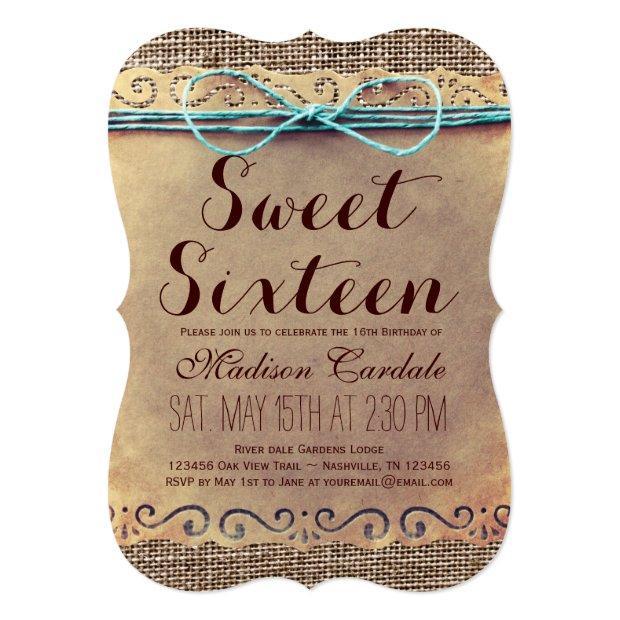 Rustic Vintage Sweet Sixteen Birthday Invitations