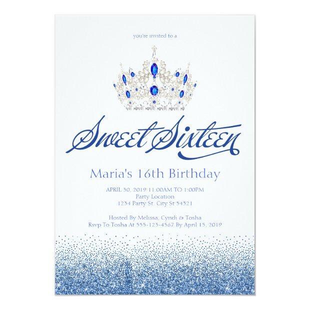 Sapphire Blue Sweet Sixteen Invitations