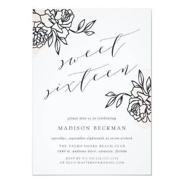 Secret Garden Sweet Sixteen Invitation