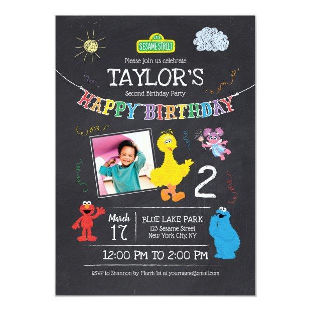 Sesame Street Pals Chalkboard Photo Birthday Invitations