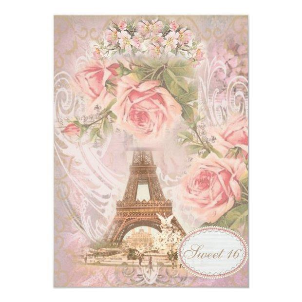 Shabby Chic Eiffel Tower Pink Floral Sweet 16 Invitations