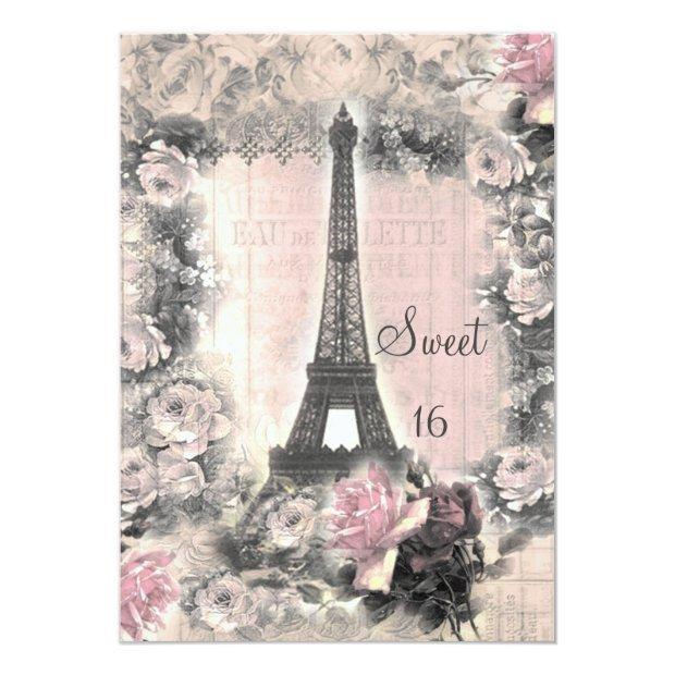 Shabby Chic Eiffel Tower & Roses Sweet 16 Invitations