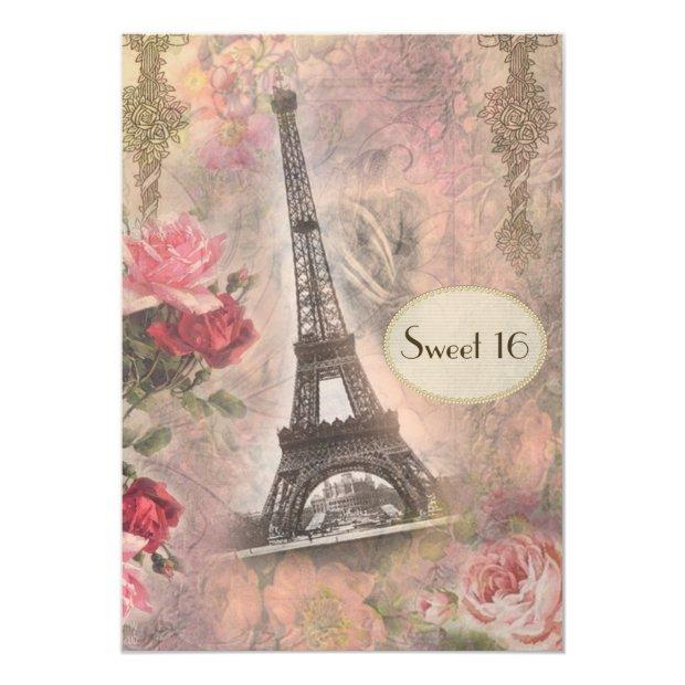 Shabby Chic Eiffel Tower & Roses Sweet 16 Invitations