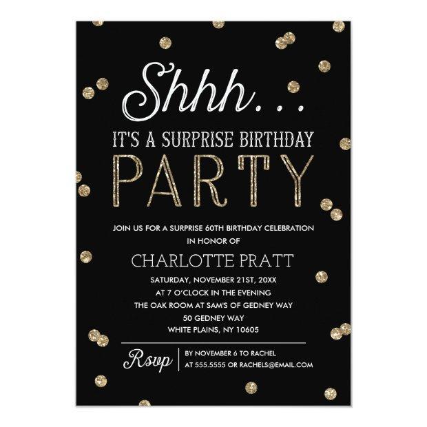Shh Surprise Birthday Party Faux Glitter Confetti Invitations