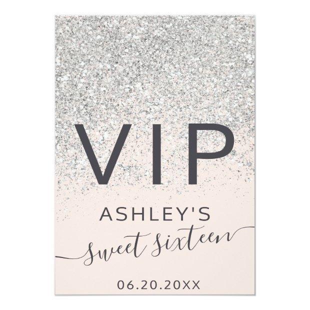 Silver Glitter Typography Blush Sweet 16 Vip Badge