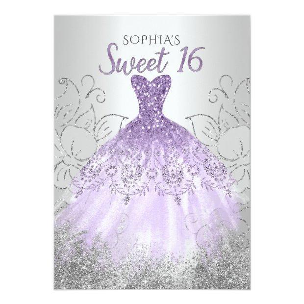 Silver Purple Sparkle Dress Sweet 16 Birthday Invitation