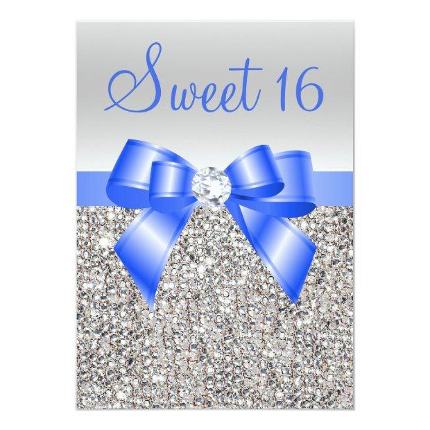 Silver Sequins Royal Blue Bow Sweet 16 Invitations