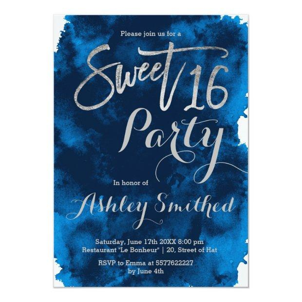 Silver Typography Navy Blue Watercolor Sweet 16 Invitations