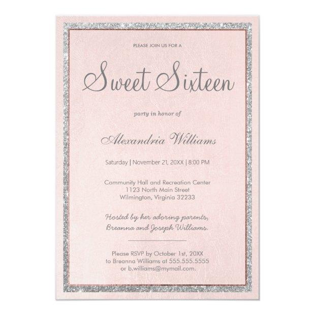 Soft Pink Rose Gold Silver Glitter Sweet 16 Invitation
