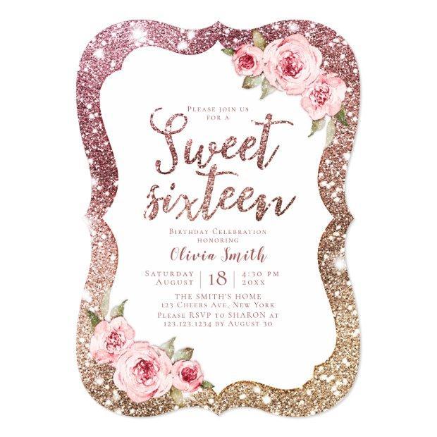 Sparkle Rose Gold Glitter Floral Sweet 16 Birthday Invitation