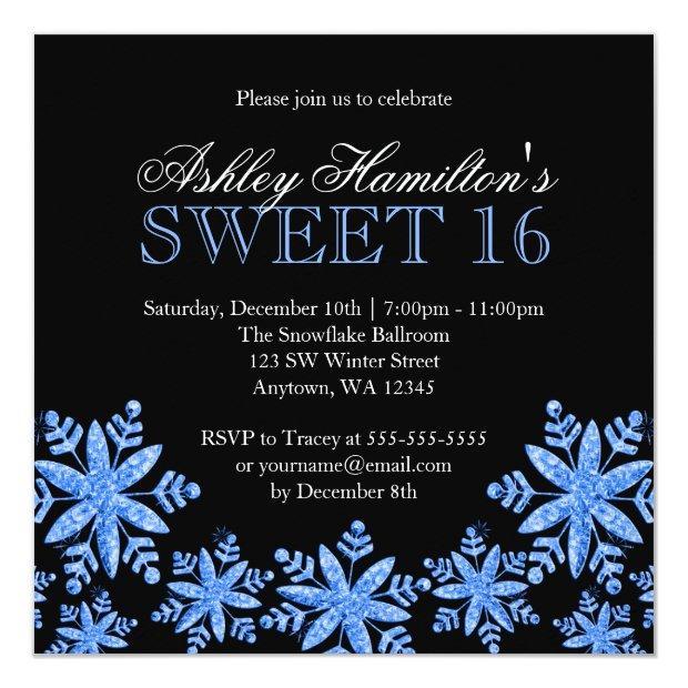 Sparkle Snowflakes Blue Sweet 16 Winter Wonderland Invitations