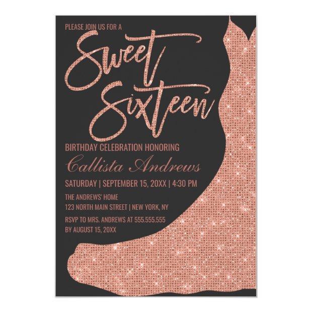 Sparkly Black Rose Gold Glitter Dress Sweet 16 Invitation