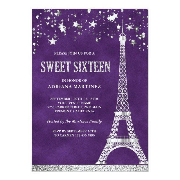 Stars Confetti Silver Eiffel Tower Sweet 16 Invitation
