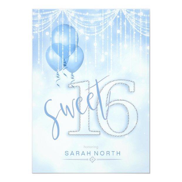 String Lights & Balloons Sweet 16 Lt. Blue Id473 Invitations