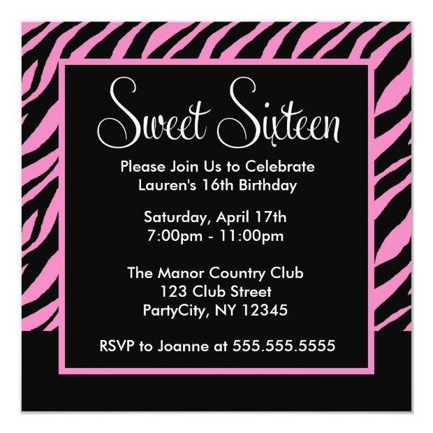Stylish Zebra Pattern Sweet Sixteen Party Invitations