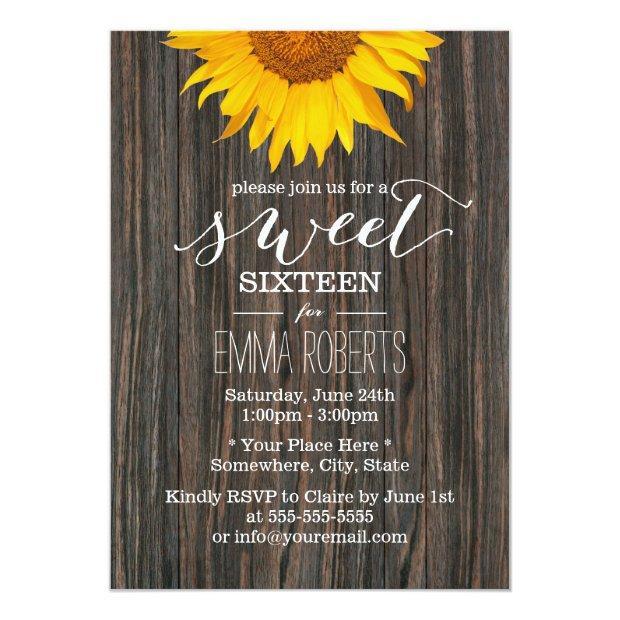 Sunflower Sweet Sixteen Rustic Wood