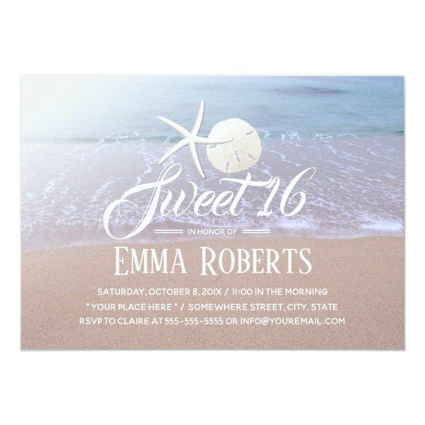 Sweet 16 Beach Theme Starfish & Sand Dollar Invitations