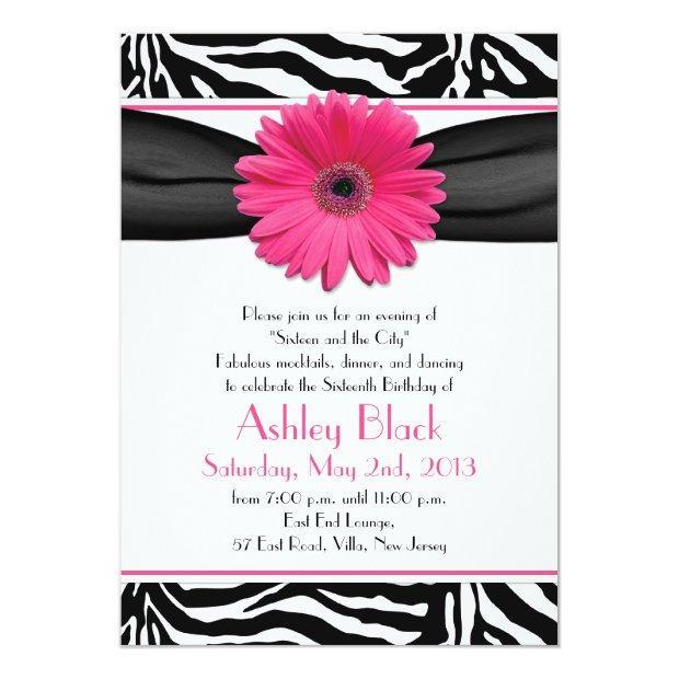 Sweet 16 Birthday Invite | Daisy Zebra Print