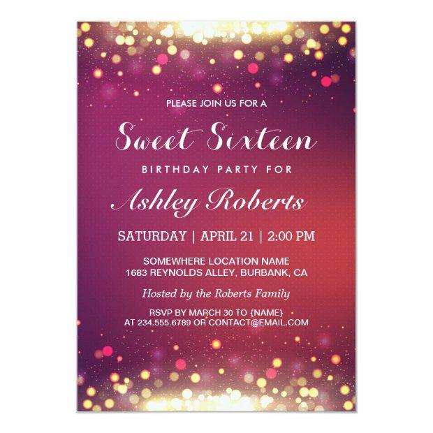 Sweet 16 Birthday Party Gold Shimmer Sparkles