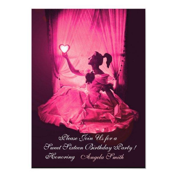 Sweet 16 Birthday Party,pink Fuchsia Black Damask Invitation