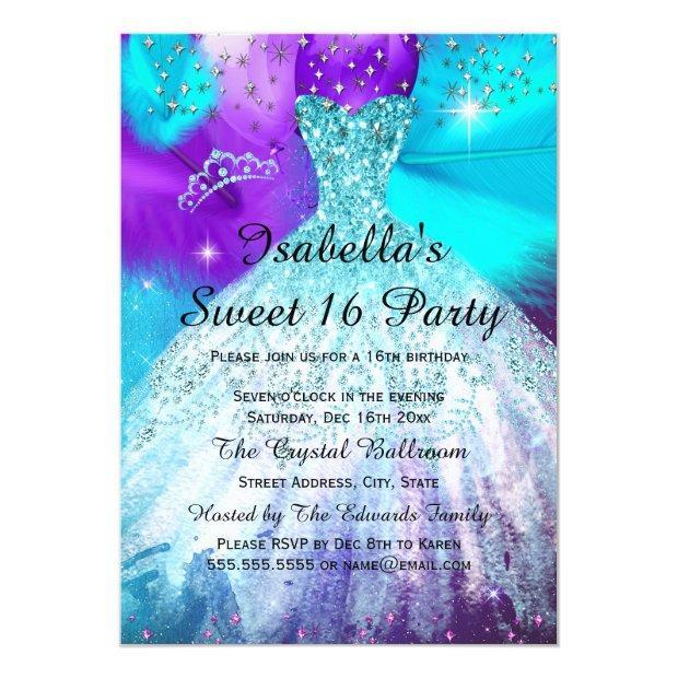 Sweet 16 Birthday Party Teal Purple Balloons Invitation