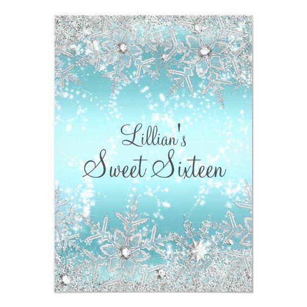 Sweet 16 Blue Diamond Snowflake Winter Wonderland