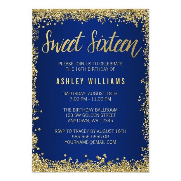 Sweet 16 Blue Gold Glitter Birthday