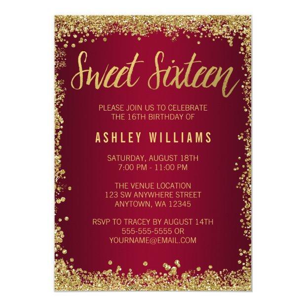 Sweet 16 Burgundy Gold Glitter Birthday