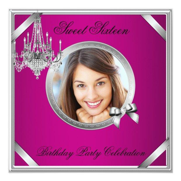 Sweet 16 Elegant Chandelier Pink Silver Photo Invitations
