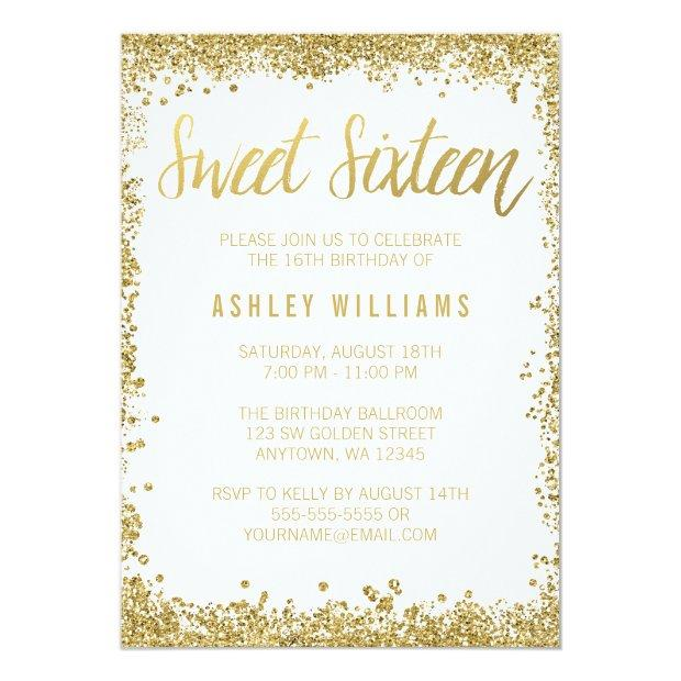 Sweet 16 Gold White Faux Glitter Birthday
