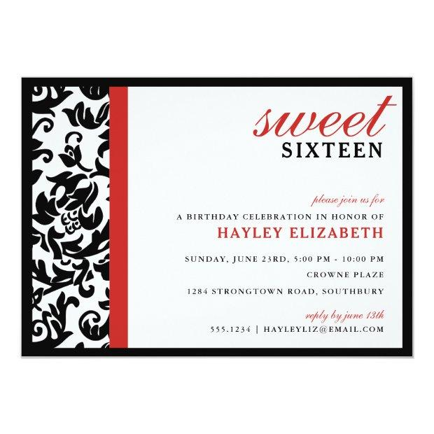 Sweet 16 Modern Damask With Border, Red Invitations