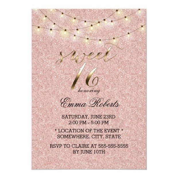 Sweet 16 Modern Rose Gold Glitter String Lights Invitations