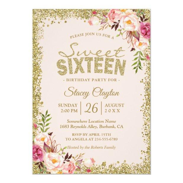 Sweet 16 Party - Blush Pink Gold Glitters Floral